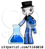 Blue Plague Doctor Man Holding Test Tube Beside Beaker Or Flask