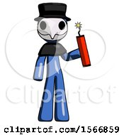 Blue Plague Doctor Man Holding Dynamite With Fuse Lit