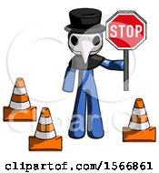 Blue Plague Doctor Man Holding Stop Sign By Traffic Cones Under Construction Concept