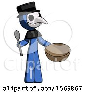Blue Plague Doctor Man With Empty Bowl And Spoon Ready To Make Something