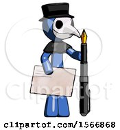 Blue Plague Doctor Man Holding Large Envelope And Calligraphy Pen