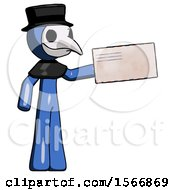 Blue Plague Doctor Man Holding Large Envelope