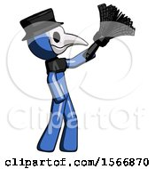 Blue Plague Doctor Man Dusting With Feather Duster Upwards