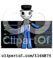 Blue Plague Doctor Man With Server Racks In Front Of Two Networked Systems