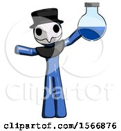 Blue Plague Doctor Man Holding Large Round Flask Or Beaker