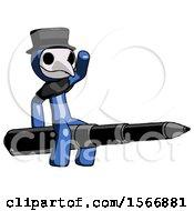 Blue Plague Doctor Man Riding A Pen Like A Giant Rocket
