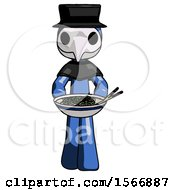 Blue Plague Doctor Man Serving Or Presenting Noodles