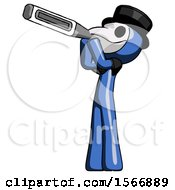 Blue Plague Doctor Man Thermometer In Mouth