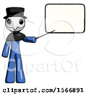 Blue Plague Doctor Man Giving Presentation In Front Of Dry Erase Board