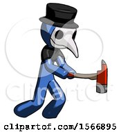Blue Plague Doctor Man With Ax Hitting Striking Or Chopping