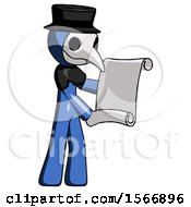 Blue Plague Doctor Man Holding Blueprints Or Scroll