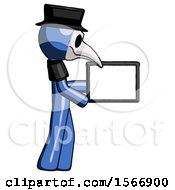 Blue Plague Doctor Man Show Tablet Device Computer To Viewer Blank Area