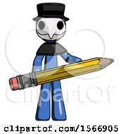 Blue Plague Doctor Man Writer Or Blogger Holding Large Pencil