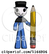Blue Plague Doctor Man With Large Pencil Standing Ready To Write