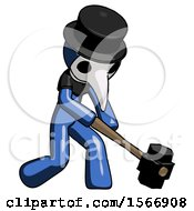 Blue Plague Doctor Man Hitting With Sledgehammer Or Smashing Something At Angle