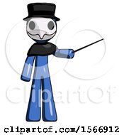Blue Plague Doctor Man Teacher Or Conductor With Stick Or Baton Directing
