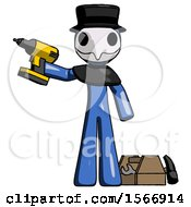 Blue Plague Doctor Man Holding Drill Ready To Work Toolchest And Tools To Right