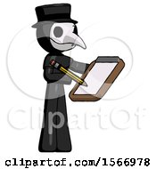 Black Plague Doctor Man Using Clipboard And Pencil