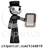 Black Plague Doctor Man Showing Clipboard To Viewer