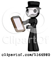 Black Plague Doctor Man Reviewing Stuff On Clipboard