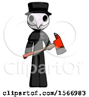 Black Plague Doctor Man Holding Red Fire Fighters Ax