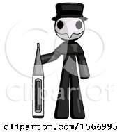 Black Plague Doctor Man Standing With Large Thermometer