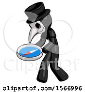Black Plague Doctor Man Walking With Large Compass