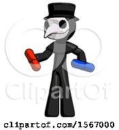 Black Plague Doctor Man Red Pill Or Blue Pill Concept