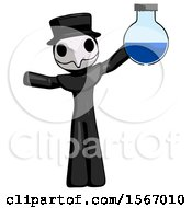 Black Plague Doctor Man Holding Large Round Flask Or Beaker