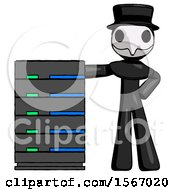 Black Plague Doctor Man With Server Rack Leaning Confidently Against It