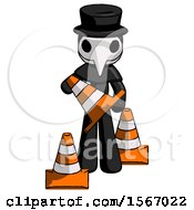 Black Plague Doctor Man Holding A Traffic Cone