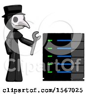 Black Plague Doctor Man Server Administrator Doing Repairs