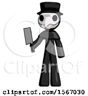 Black Plague Doctor Man Holding Meat Cleaver