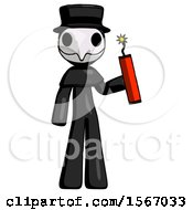 Black Plague Doctor Man Holding Dynamite With Fuse Lit