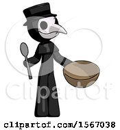 Black Plague Doctor Man With Empty Bowl And Spoon Ready To Make Something