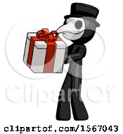 Black Plague Doctor Man Presenting A Present With Large Red Bow On It