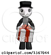 Black Plague Doctor Man Gifting Present With Large Bow Front View