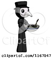 Black Plague Doctor Man Holding Noodles Offering To Viewer