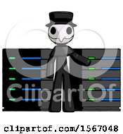 Black Plague Doctor Man With Server Racks In Front Of Two Networked Systems