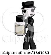 Black Plague Doctor Man Holding White Medicine Bottle