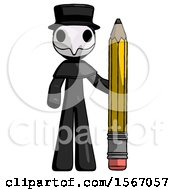 Black Plague Doctor Man With Large Pencil Standing Ready To Write