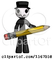 Black Plague Doctor Man Writer Or Blogger Holding Large Pencil