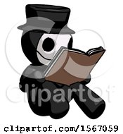 Poster, Art Print Of Black Plague Doctor Man Reading Book While Sitting Down