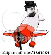 Black Plague Doctor Man In Geebee Stunt Plane Descending Front Angle View