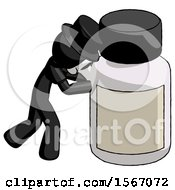 Black Plague Doctor Man Pushing Large Medicine Bottle