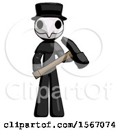 Black Plague Doctor Man Holding Hammer Ready To Work