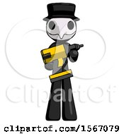 Black Plague Doctor Man Holding Large Drill