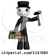 Black Plague Doctor Man Holding Tools And Toolchest Ready To Work