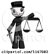 Black Plague Doctor Man Justice Concept With Scales And Sword Justicia Derived