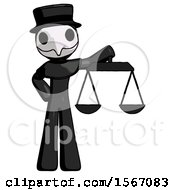 Black Plague Doctor Man Holding Scales Of Justice